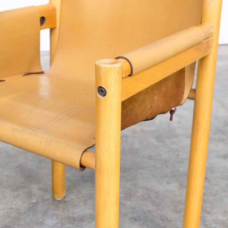 Pair of Camel Brown Leather and wood Dining Chair for Ibisco Sedie set/2, 1970s For Sale 7