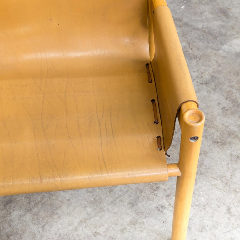 Pair of Camel Brown Leather and wood Dining Chair for Ibisco Sedie set/2, 1970s For Sale 8