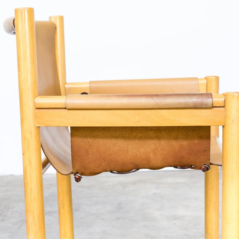 Pair of Camel Brown Leather and wood Dining Chair for Ibisco Sedie set/2, 1970s For Sale 10