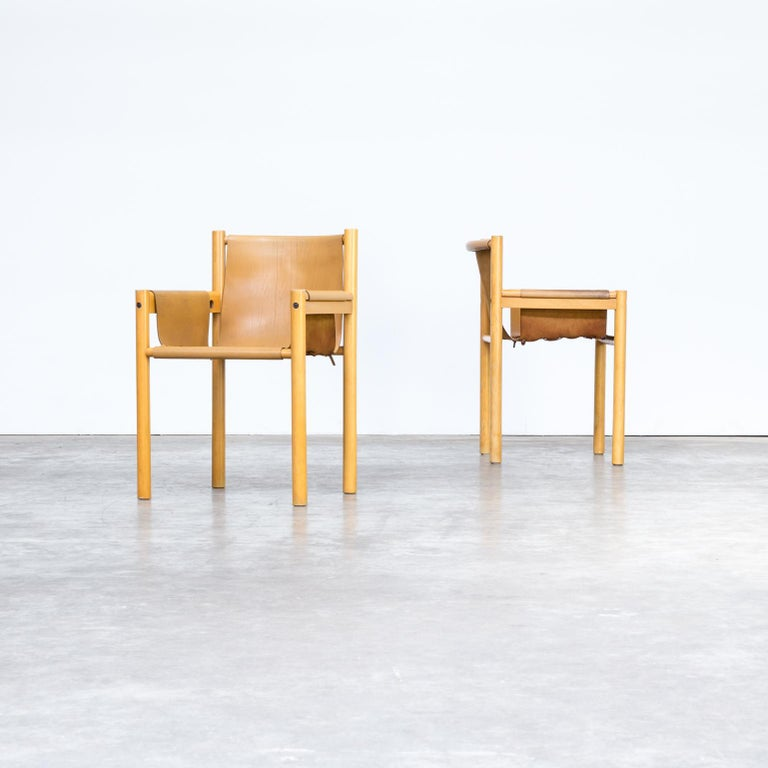 1970s camel brown leather dining chair for Ibisco Sedie, set of 2. Good condition consistent with age and use.