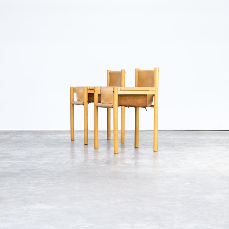 Italian Pair of Camel Brown Leather and wood Dining Chair for Ibisco Sedie set/2, 1970s For Sale