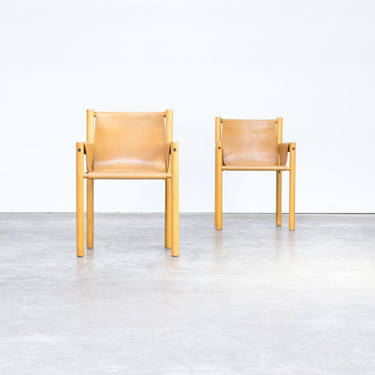 Pair of Camel Brown Leather and wood Dining Chair for Ibisco Sedie set/2, 1970s In Good Condition For Sale In Amstelveen, Noord