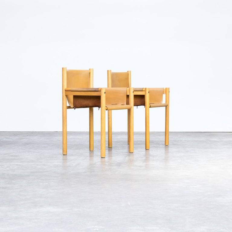 Late 20th Century Pair of Camel Brown Leather and wood Dining Chair for Ibisco Sedie set/2, 1970s For Sale