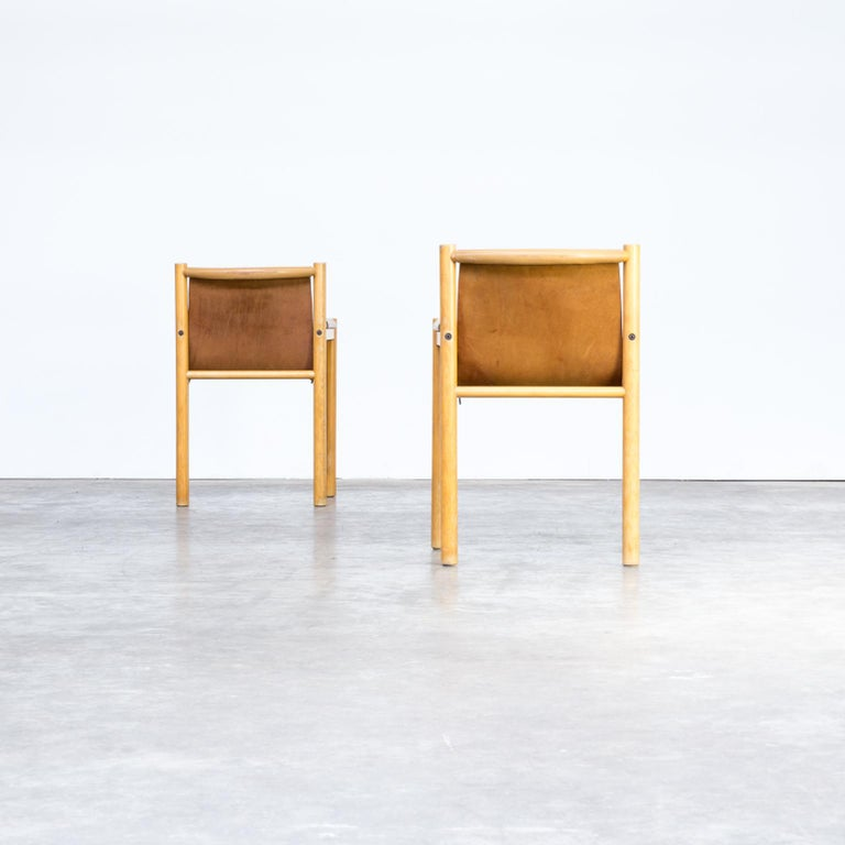 Pair of Camel Brown Leather and wood Dining Chair for Ibisco Sedie set/2, 1970s For Sale 2