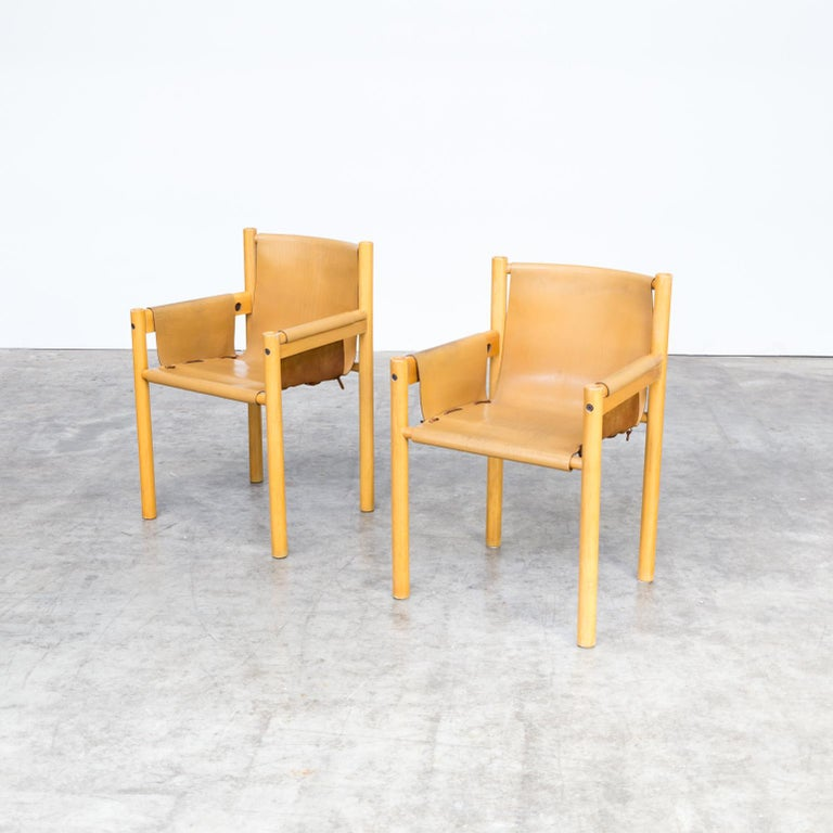 Pair of Camel Brown Leather and wood Dining Chair for Ibisco Sedie set/2, 1970s For Sale 3