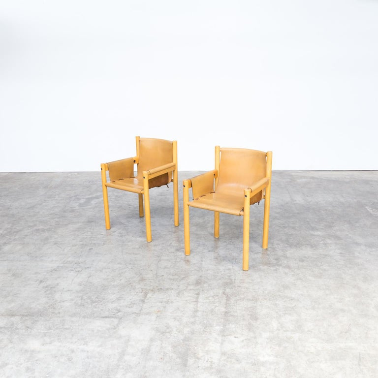 Pair of Camel Brown Leather and wood Dining Chair for Ibisco Sedie set/2, 1970s For Sale 4