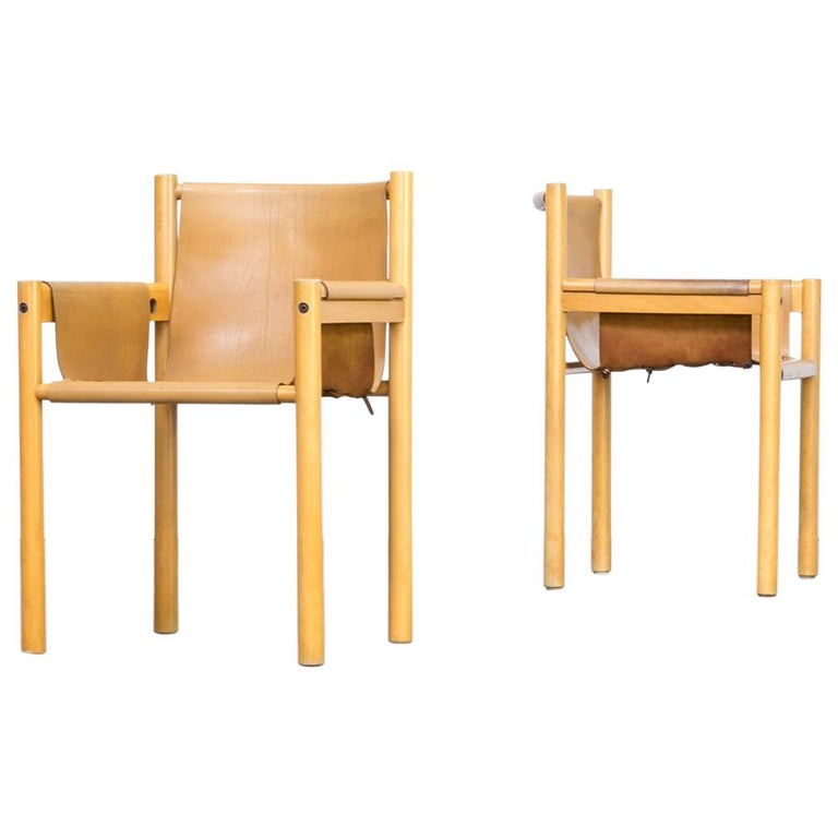 Pair of Camel Brown Leather and wood Dining Chair for Ibisco Sedie set/2, 1970s For Sale