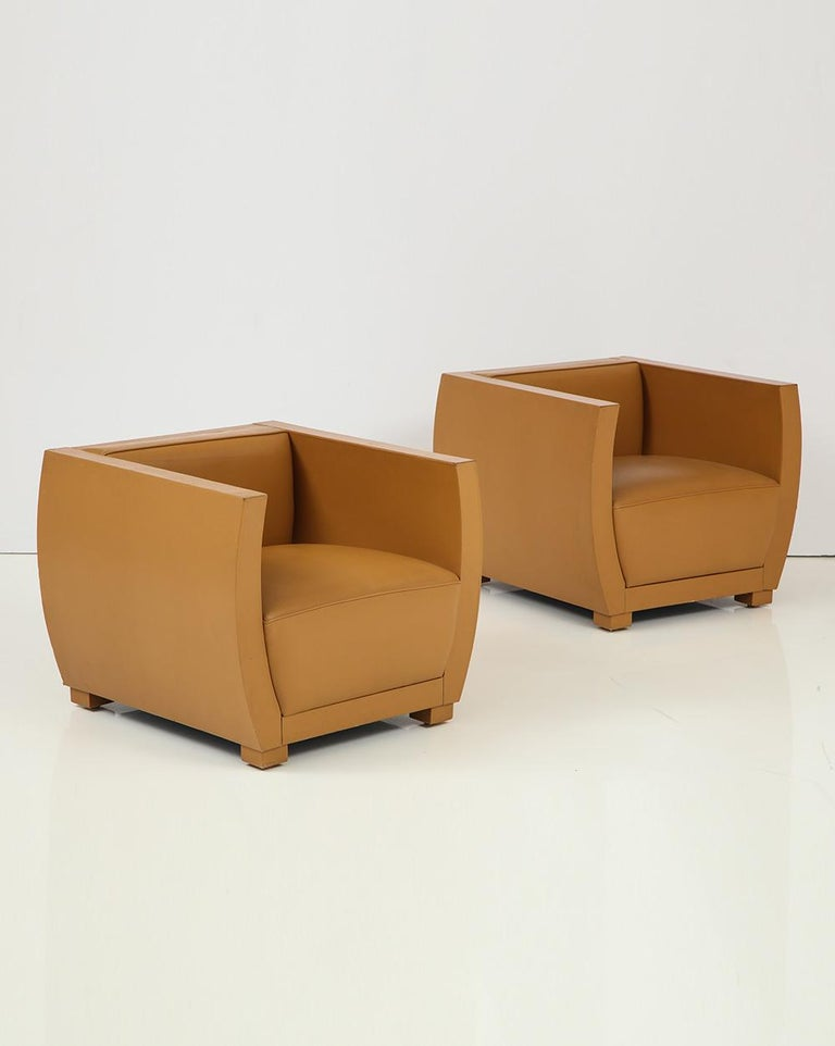 Modern Pair of Camel Colored Leather Clad Club Chairs For Sale