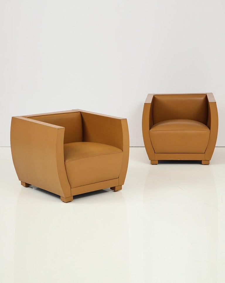 American Pair of Camel Colored Leather Clad Club Chairs For Sale