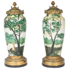 Pair of Cameo Glass Vases, Signed Gauthier, Converted to Lamps