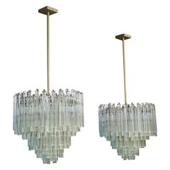 Pair of Camer Large Scale Crystal Chandeliers