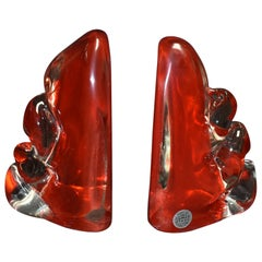 Pair of Camer Murano Glass Bookends