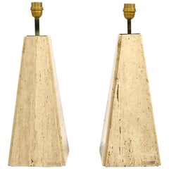 Pair of Camille Breesch Travertine and Brass Table Lamps, Belgium, circa 1970