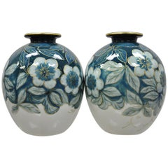 Pair of Camille Tharaud Limoges France Glazed Porcelain Teal Vase Lamp Base