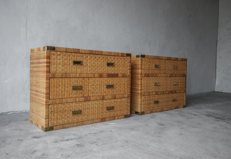 Organic Modern Pair of Campaign Cane and Brass Dressers