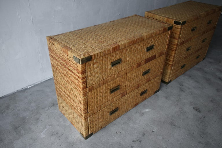 Pair of Campaign Cane and Brass Dressers In Good Condition In Las Vegas, NV