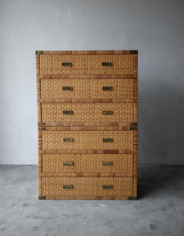 20th Century Pair of Campaign Cane and Brass Dressers