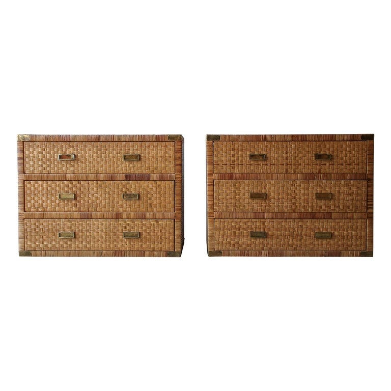 Pair of Campaign Cane and Brass Dressers