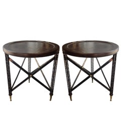 "Pair of ""Campaign"" Inspired Midcentury End Tables"