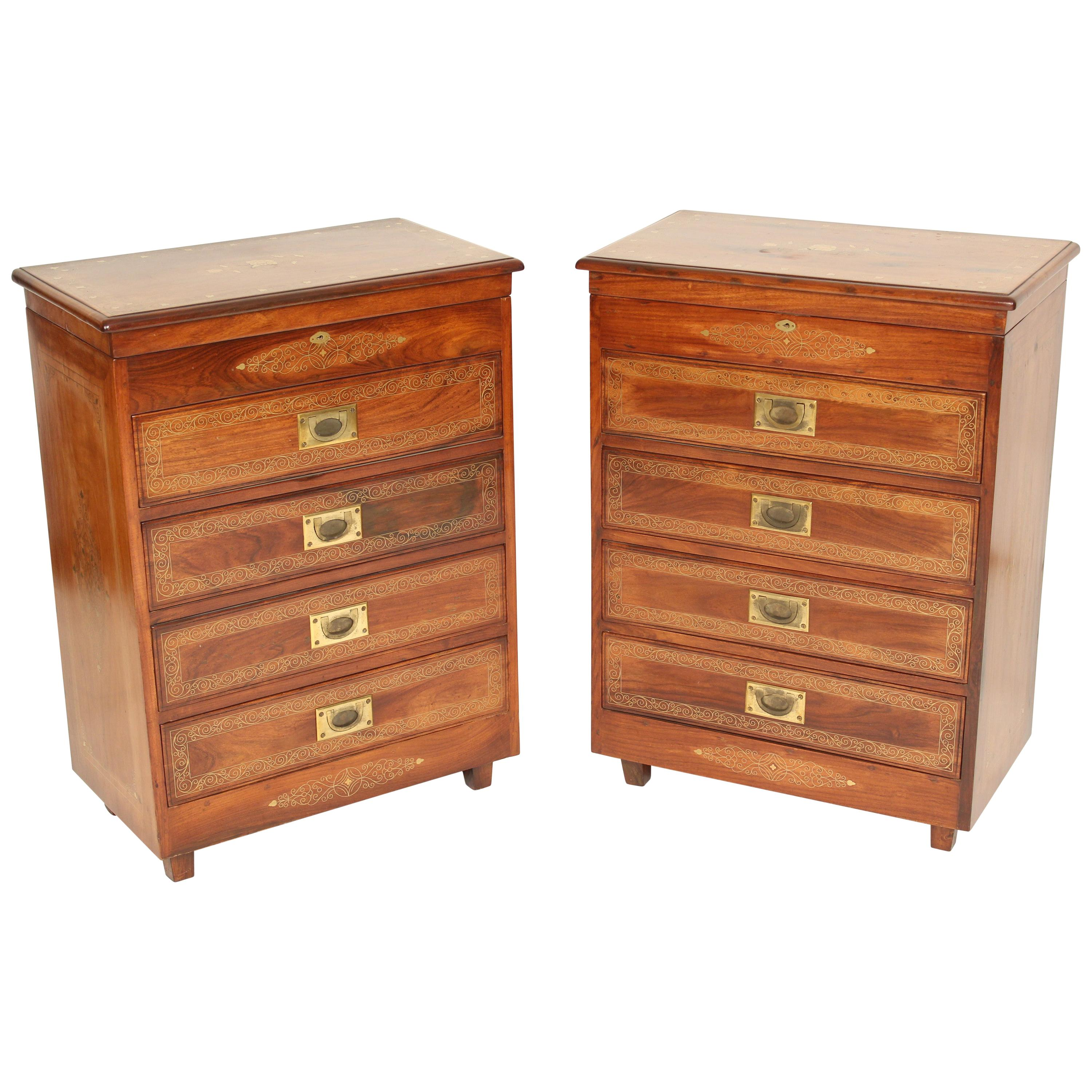 Pair of Campaign Style Brass Inlaid Chests of Drawers