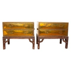 Pair of Campaign Style Brass Two-Drawer Chest on Stands Sarreid Ltd., Spain