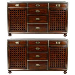 Pair of Campaign Style Credenzas or Cabinets