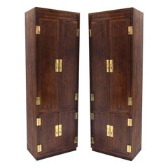Pair of Campaign Style Henredon Tall Fitted Cabinets