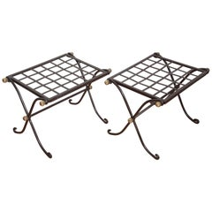 Pair of Campaign Style Iron Benches