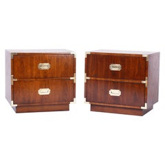 Pair of Campaign Style Nightstands