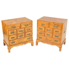 Pair of Campaign Style Olive Wood Occasional Commodes