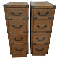 Pair of Campaign Style Teak and Brass End Tables Nightstands
