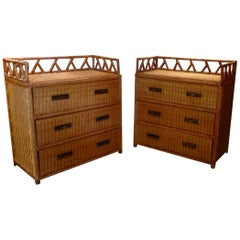 Pair of Campaign Style Wicker / Rattan Chests of Drawers