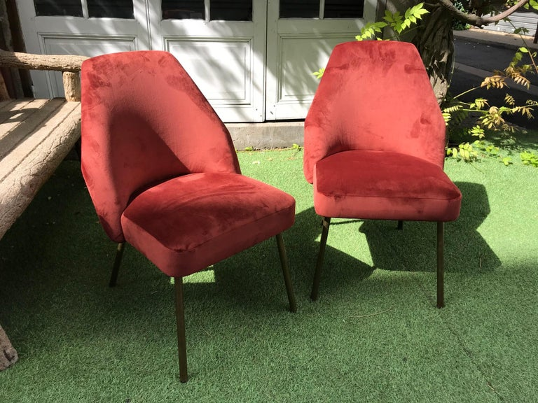 Pair of Campanula chairs by Carlo Pagani for Arflex. Nice Bordeaux velvet.