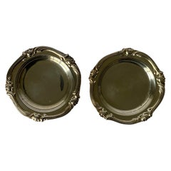 Pair of Camusso Peruvian Water Lily Sterling Silver Ashtrays