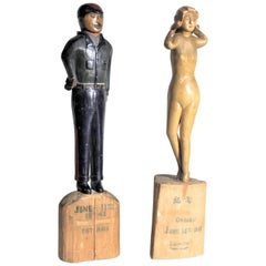 Pair of Canadian Folk Art Carved Japanese Internment Camp Figures or Sculptures