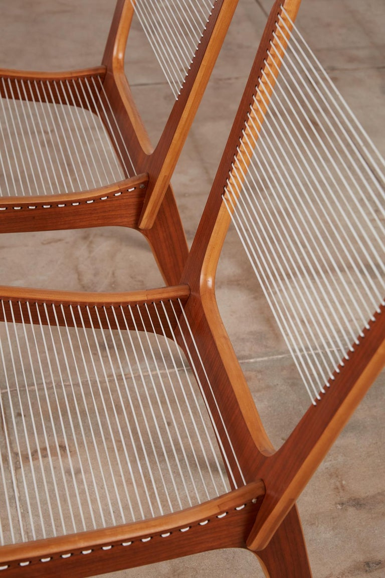 Pair of Canadian Modernist Cord Chairs by Jacques Guillon For Sale 3