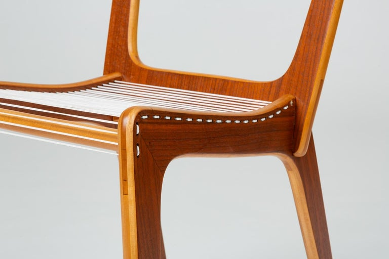 Pair of Canadian Modernist Cord Chairs by Jacques Guillon For Sale 7