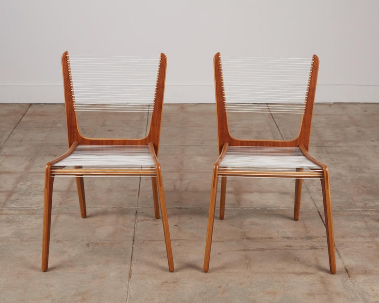 Mid-Century Modern Pair of Canadian Modernist Cord Chairs by Jacques Guillon For Sale