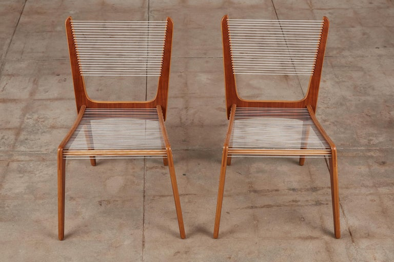 Veneer Pair of Canadian Modernist Cord Chairs by Jacques Guillon For Sale