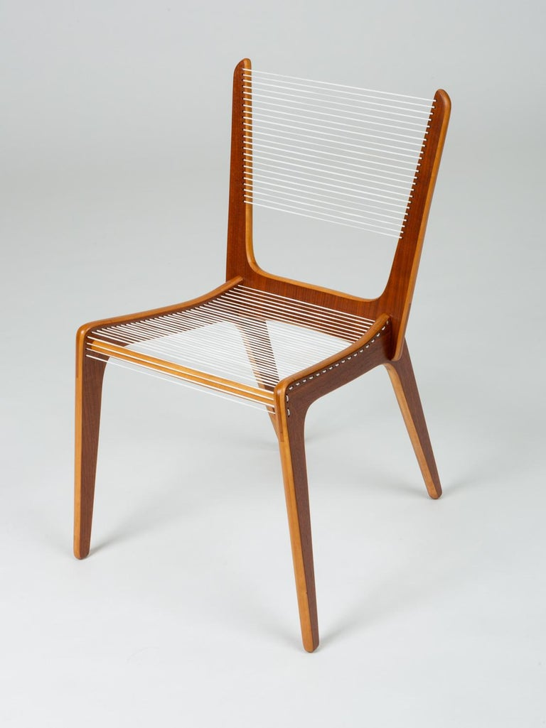 Pair of Canadian Modernist Cord Chairs by Jacques Guillon In Excellent Condition For Sale In Los Angeles, CA