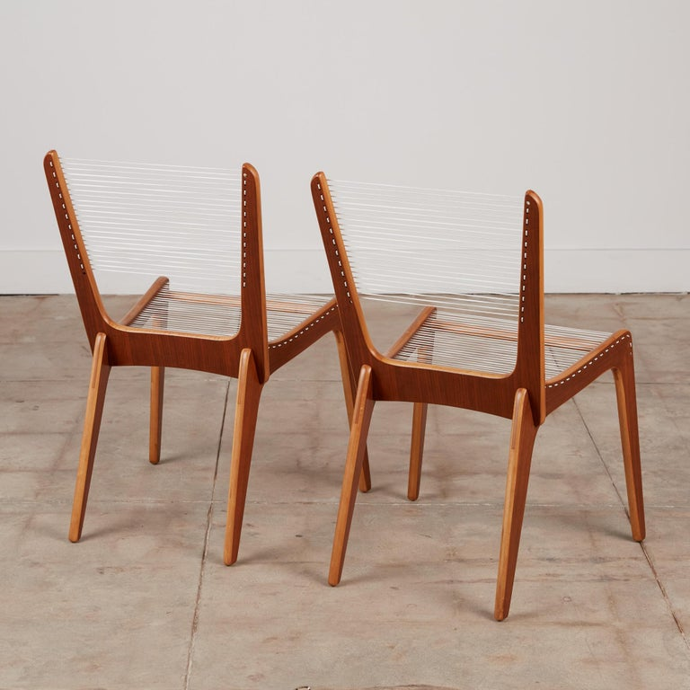 Mid-20th Century Pair of Canadian Modernist Cord Chairs by Jacques Guillon For Sale