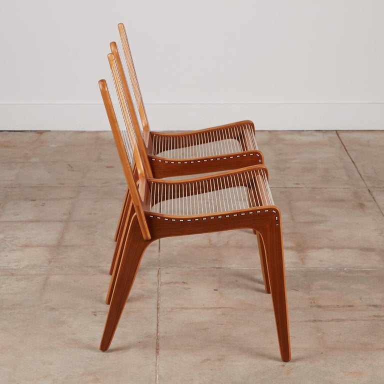 Maple Pair of Canadian Modernist Cord Chairs by Jacques Guillon For Sale
