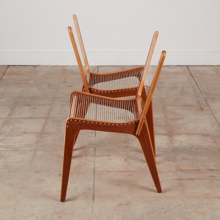 Pair of Canadian Modernist Cord Chairs by Jacques Guillon For Sale 1