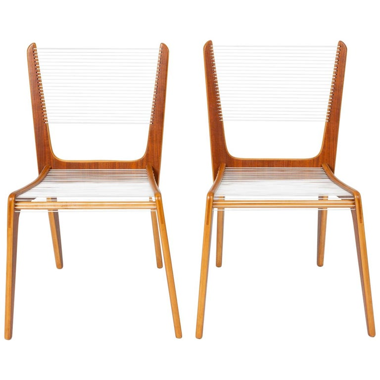 Pair of Canadian Modernist Cord Chairs by Jacques Guillon For Sale