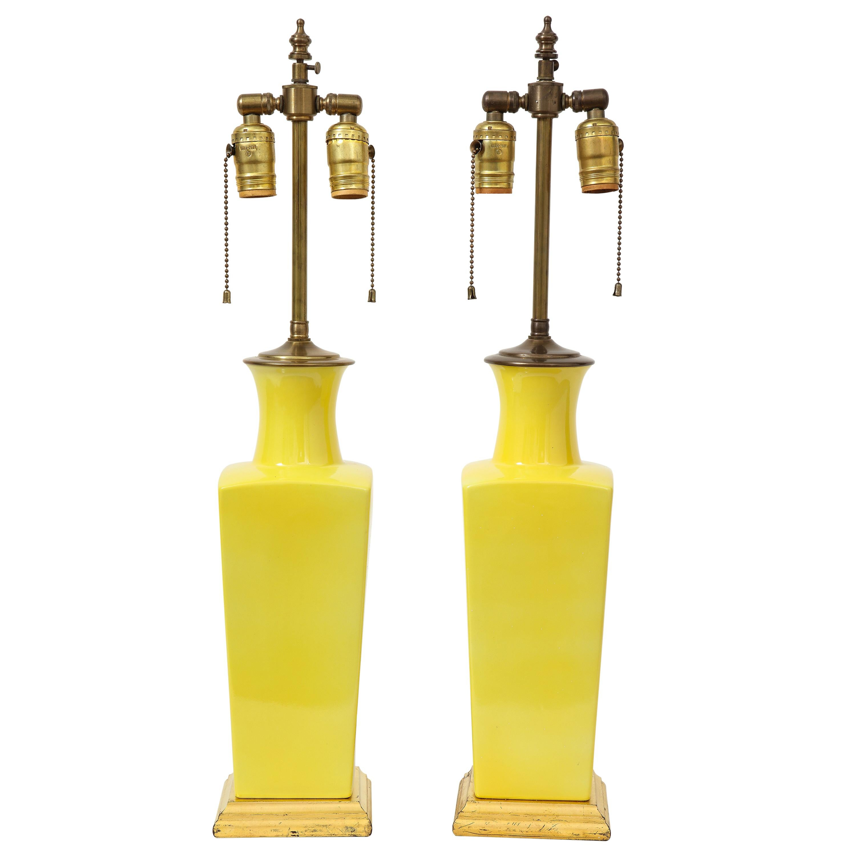 Pair of Canary Yellow Porcelain Vases as Lamps