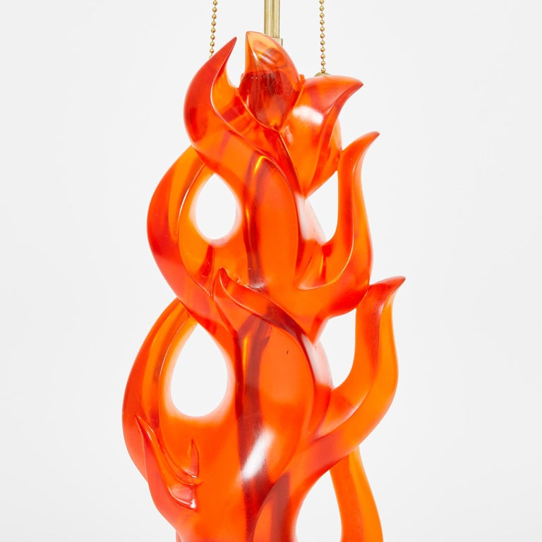 Cast Pair of Candela Lamps in Coral by David Duncan Studio For Sale