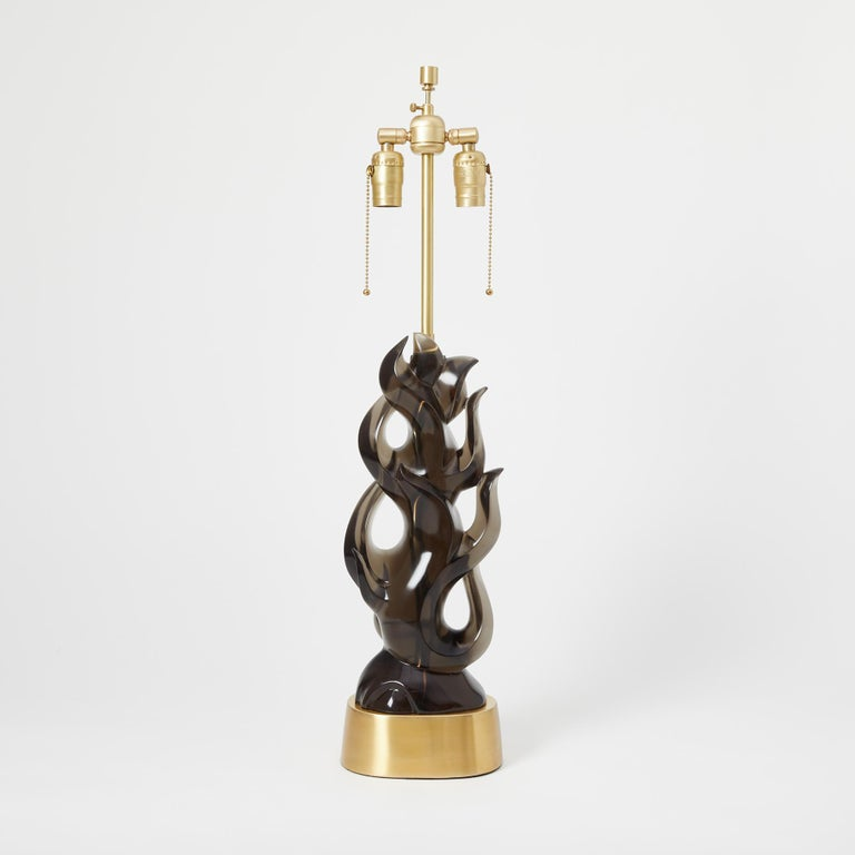 Organic Modern Pair of Candela Lamps in Smoke For Sale