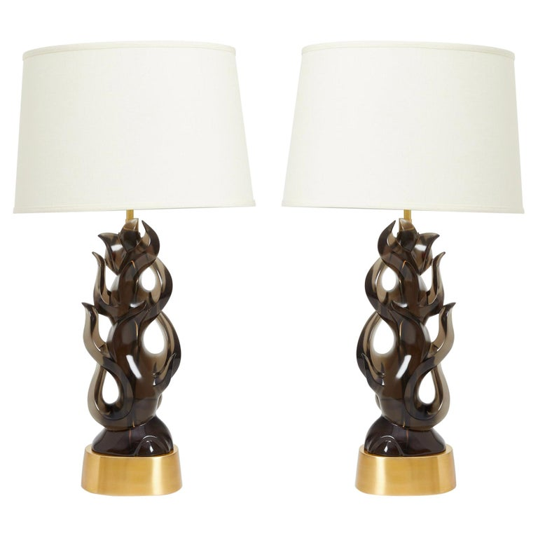 Pair of Candela Lamps in Smoke For Sale