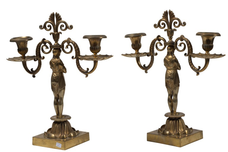 Pair of Candelabra, French Manufacture, Second Half of the 20th Century In Good Condition For Sale In Roma, IT