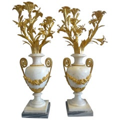 Pair of Candelabra Gilt Bronze Mounted White Marble Baluster Shape